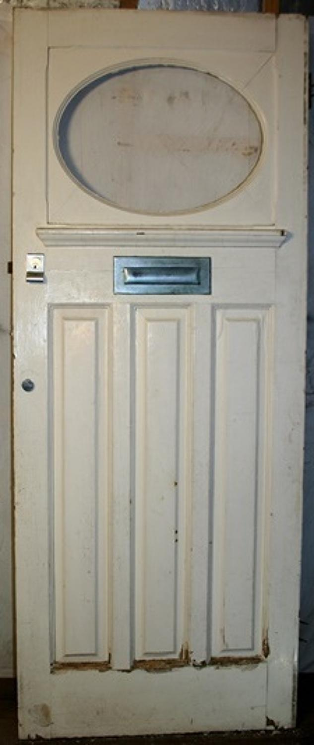 DE0709 An Edwardian Pine Door, Suitable for External Use