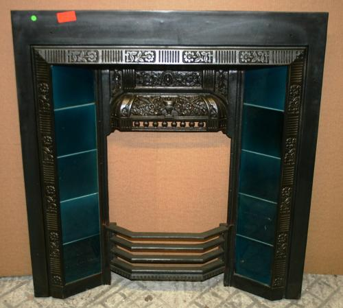 FI0005 A Pretty Blue Tiled Cast Iron Fire Insert