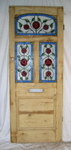 DE0106 STUNNING VICTORIAN PINE STAINED GLASS DOOR