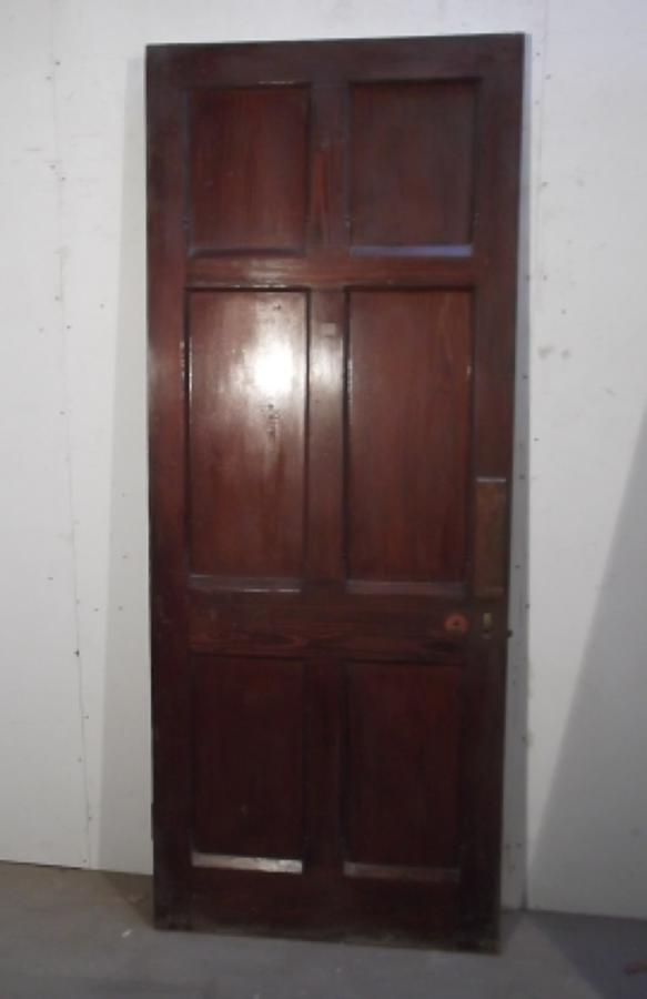 DB0204 EARLY EDWARDIAN 6 PANEL, PITCH PINE DOOR