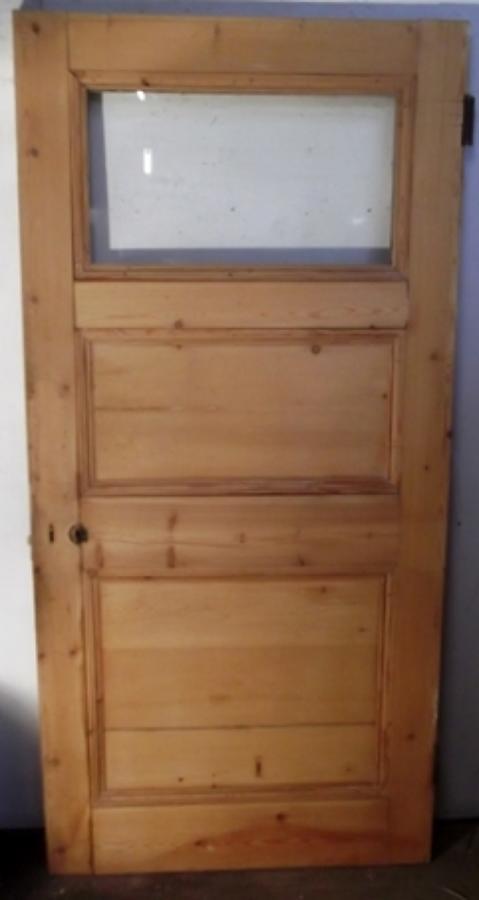 DB0297 A Wide Edwardian Pine, 3 Panel Glazed door