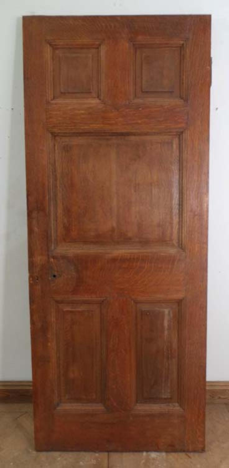 DB0344 STUNNING & UNUSUAL EDWARDIAN SOLID OAK PANELLED DOOR