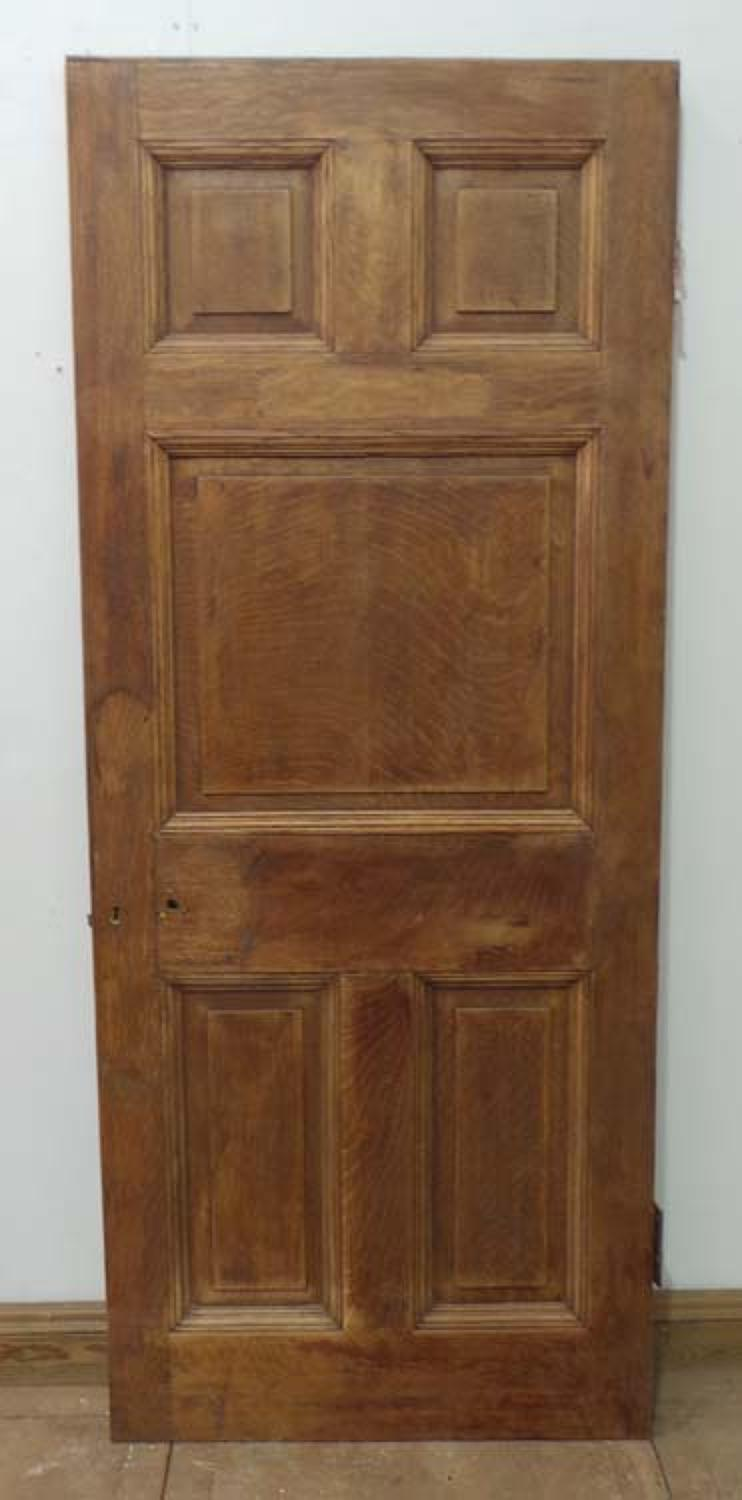 DB0367 STUNNING & UNUSUAL VICTORIAN SOLID OAK PANELLED DOOR
