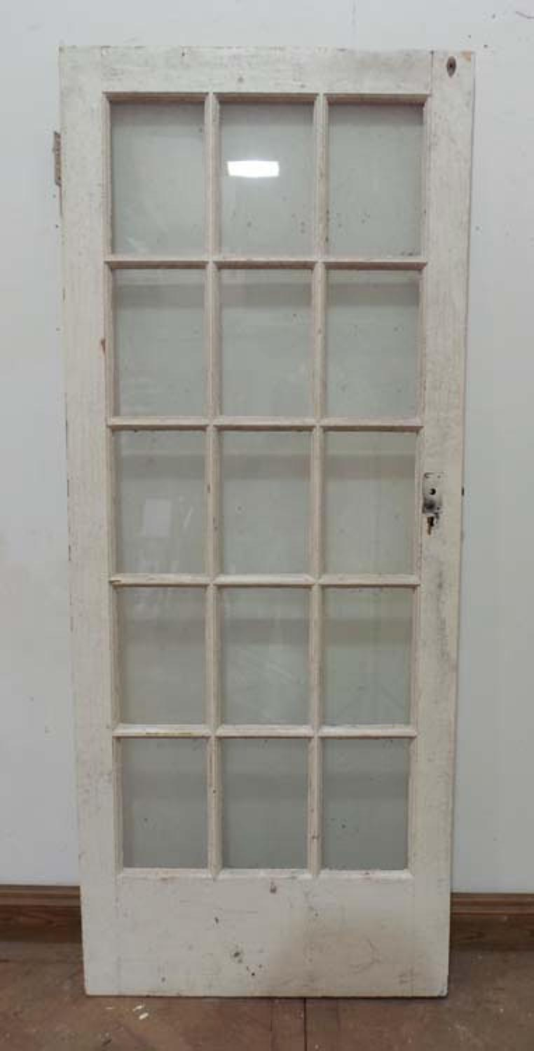 DB0388 ORIGINAL EDWARDIAN PINE GLAZED DOOR