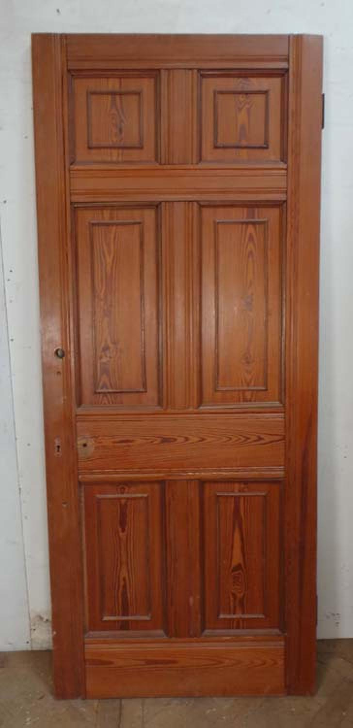 DB0421 VICTORIAN ARTS & CRAFTS STYLE SIX PANELLED PITCH PINE DOOR
