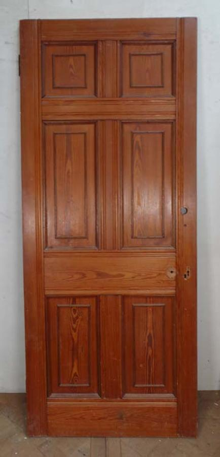 DB0422 VICTORIAN ARTS & CRAFTS STYLE SIX PANELLED PITCH PINE DOOR