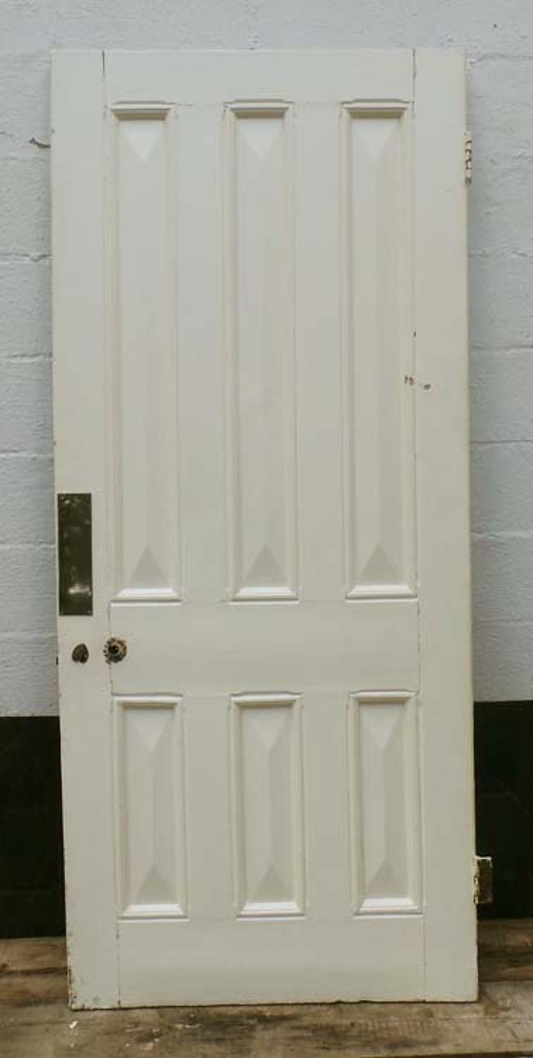 DB0444 LOVELY VICTORIAN SIX PANELLED PINE DOOR