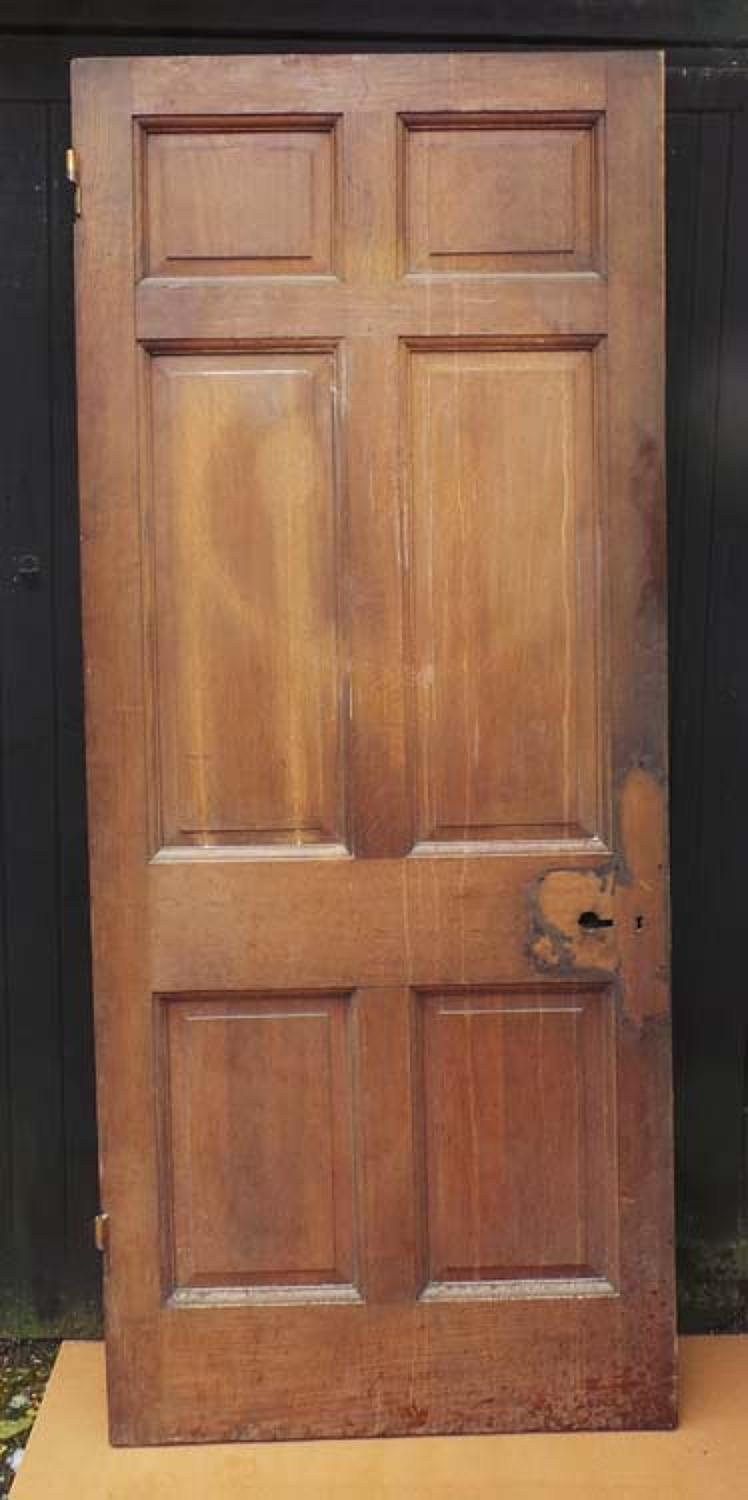DB0458 SUBSTANTIAL EDWARDIAN HEAVY SOLID OAK PANELLED DOOR