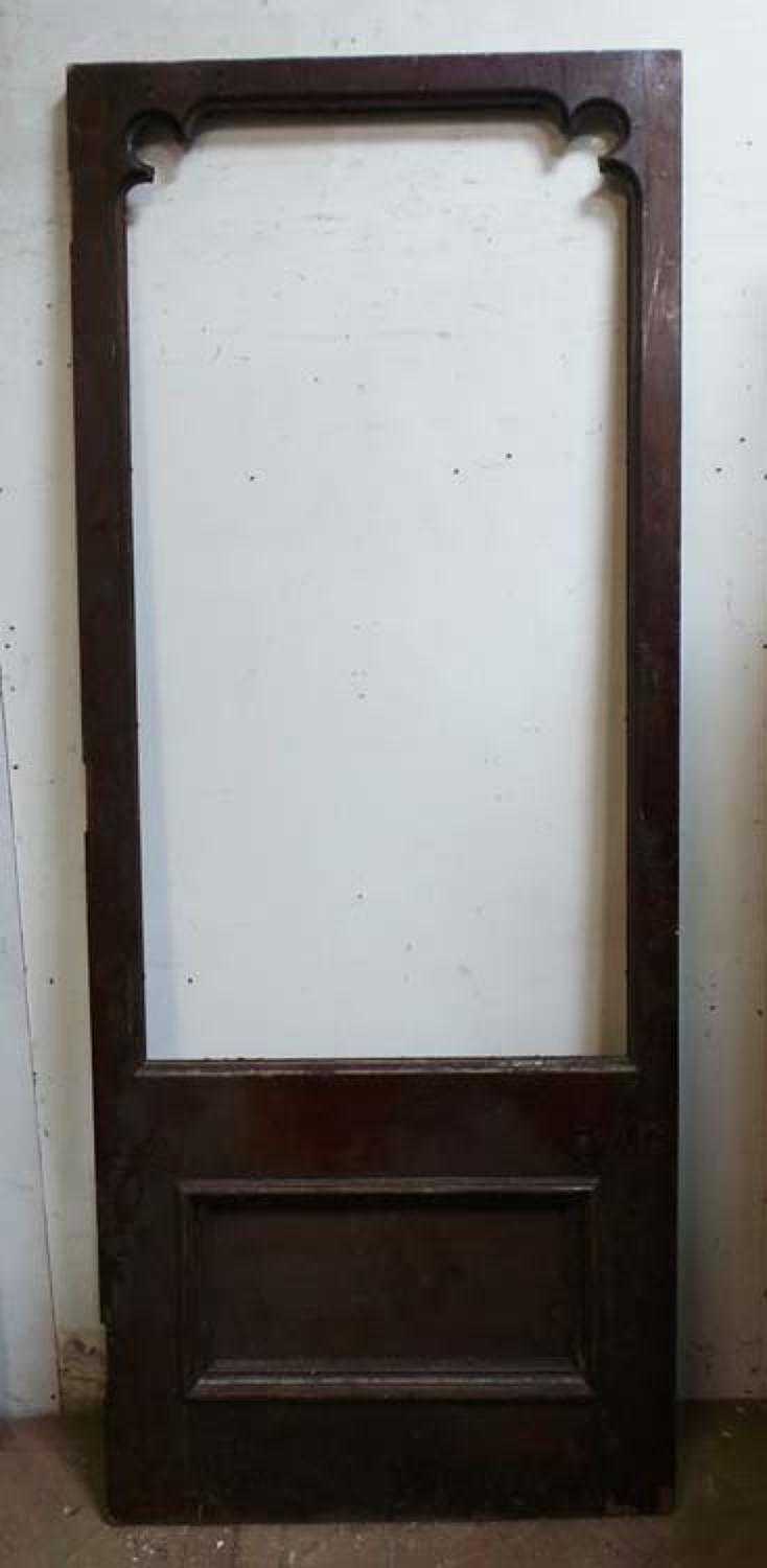 DB0469 LARGE VICTORIAN GOTHIC MAHOGANY DOOR FOR GLAZING