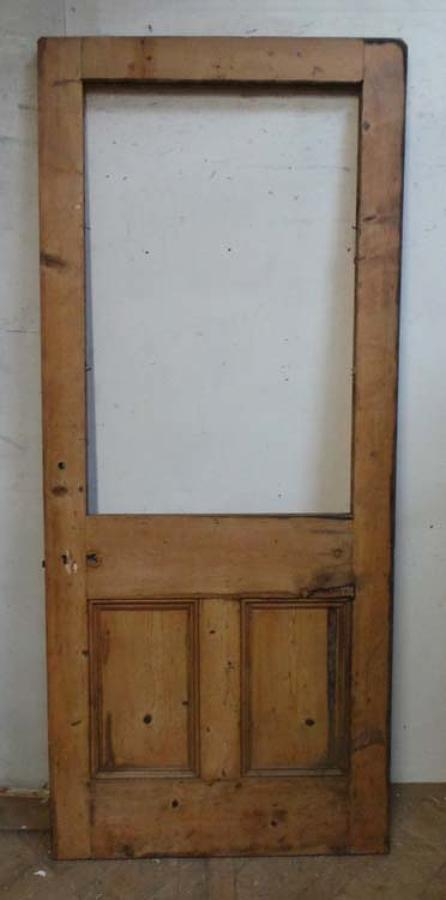 DB0488 LARGE VICTORIAN PINE PANELLED FRONT DOOR FOR GLAZING