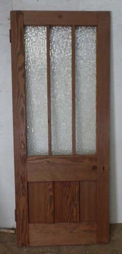 DB0498 STUNNING EDWARDIAN PITCH PINE GLAZED DOOR