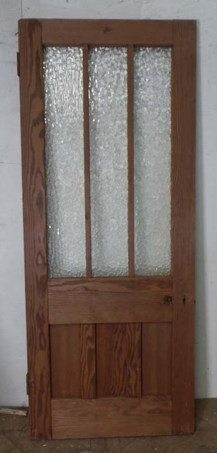 DB0498 STUNNING EDWARDIAN PITCH PINE GLAZED DOOR