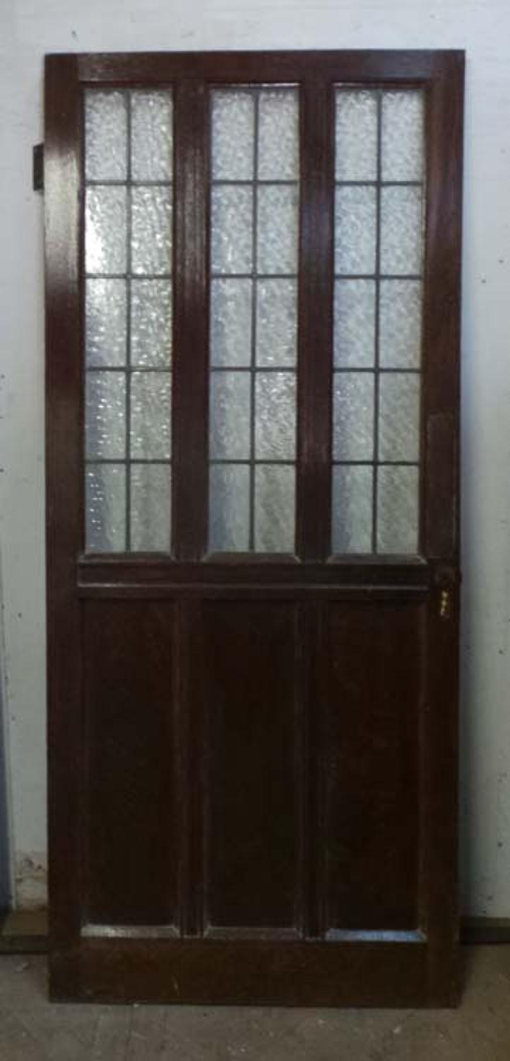 DB0521 A STYLISH EDWARDIAN OAK GLAZED DOOR