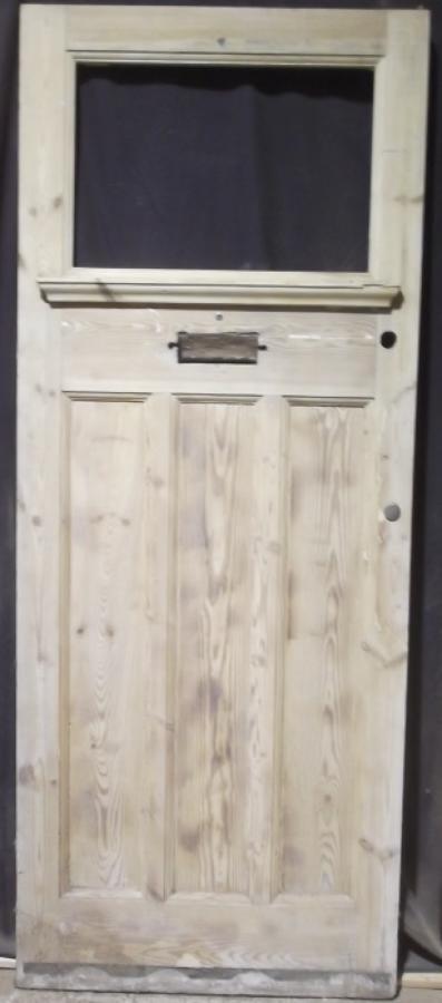 DE0095 EDWARDIAN GLAZED PANELLED PINE FRONT DOOR