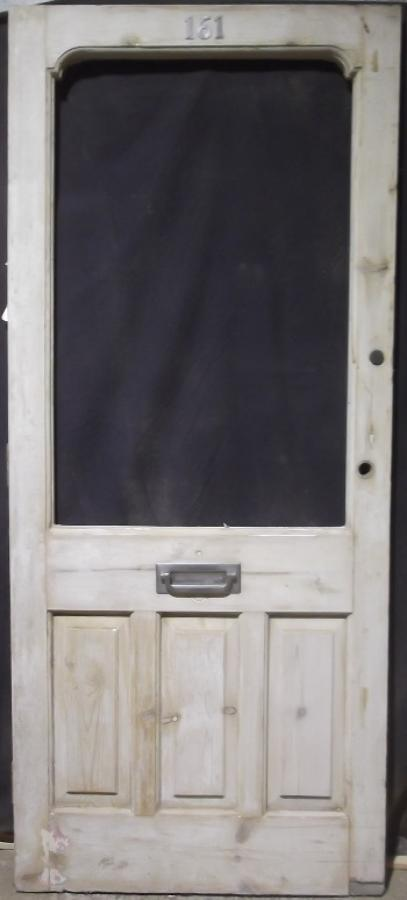 DE0135 EDWARDIAN PANELLED PINE FRONT DOOR FOR GLAZING