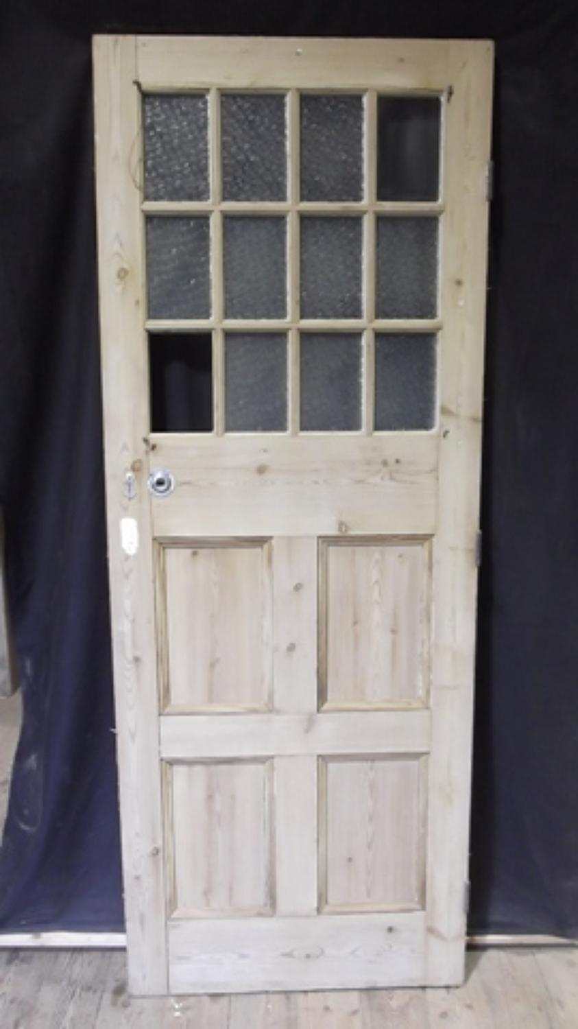 DE0250 INTERESTING EDWARDIAN PINE FRONT DOOR WITH 12 GLAZED PANELS