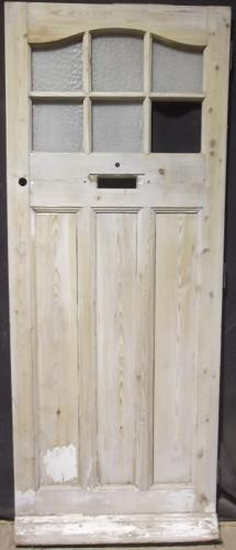 DE0374 An Edwardian Pine Front Door c. 1920 with 6 glazed Panels.