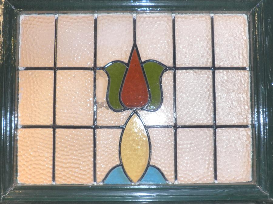 DE0441 An Elegant Edwardian Art Nouveau Front Door with Stained Glass