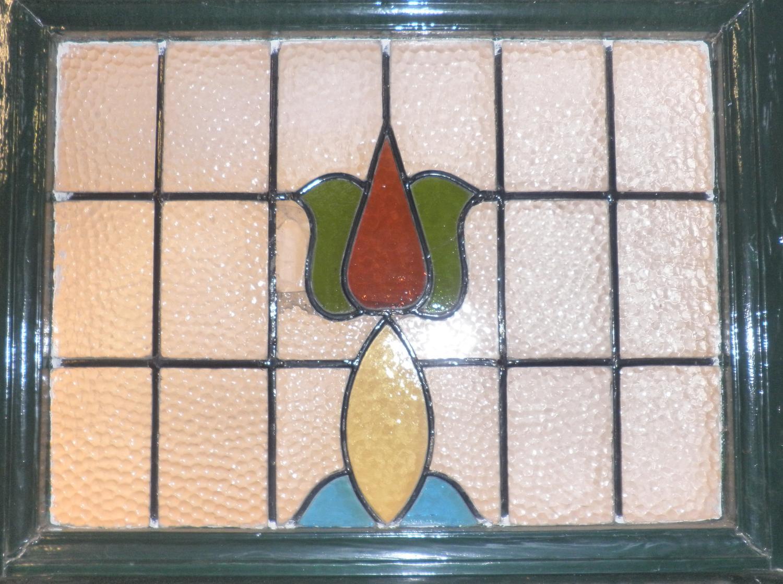 DE0441 An Elegant Edwardian Art Nouveau Front Door with Stained Glass