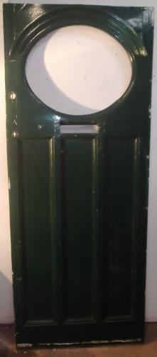 DE0442 An Edwardian Pine Front Door with Oval Panel for Glazing
