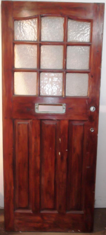 DE0463 An Edwardian Pine Door with 9 Glass Panels