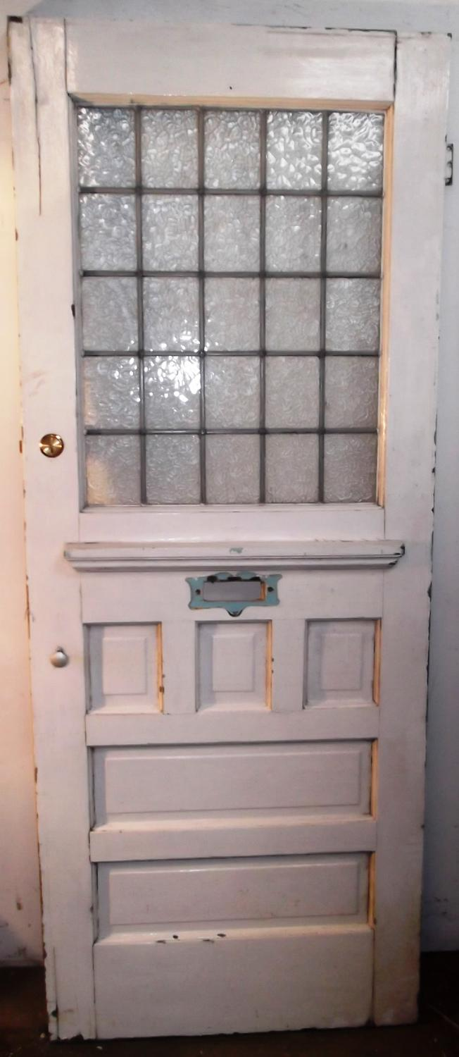 DE0466 An Early Edwardian, Pine Front Door with Leaded Glass Panel