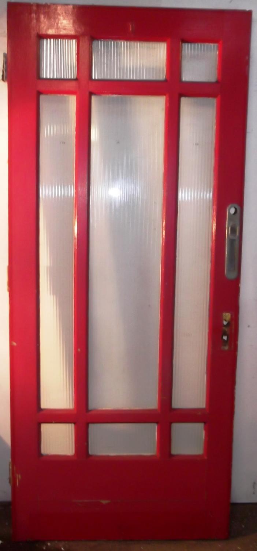 DE0479 A Good Sized Edwardian Pine Art Deco Glazed Door for External U