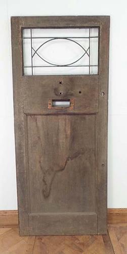 DE0511 UNUSUAL EDWARDIAN SOLID OAK DOOR FOR GLAZING