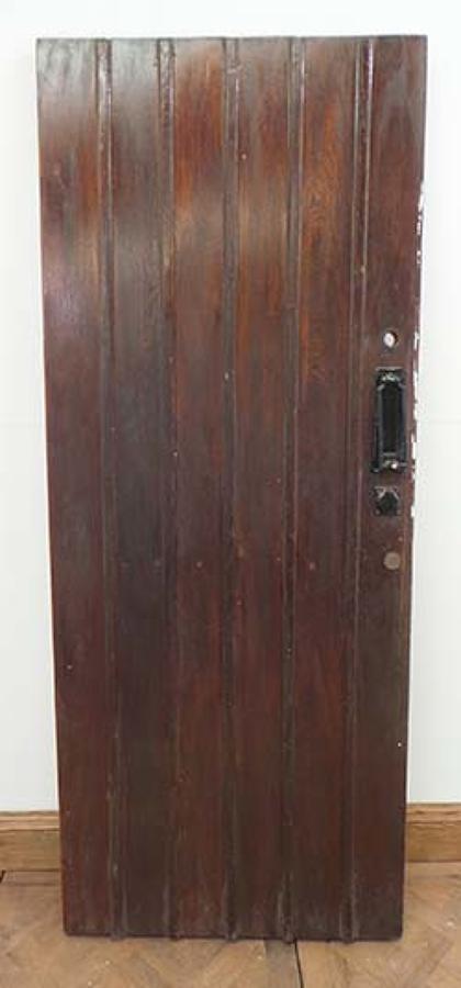 DE0522 STUNNING EDWARDIAN SOLID OAK FRAMED PLANKED DOOR