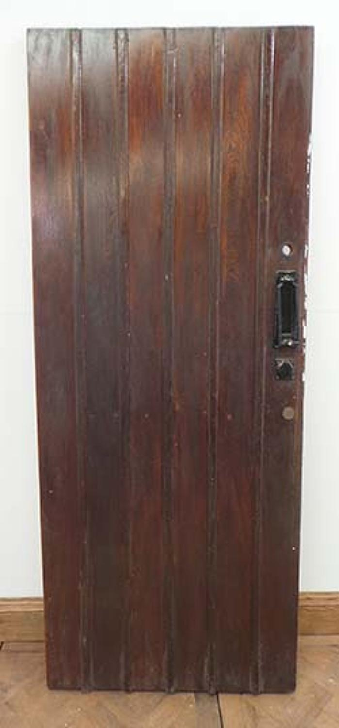 DE0522 STUNNING EDWARDIAN SOLID OAK FRAMED PLANKED DOOR