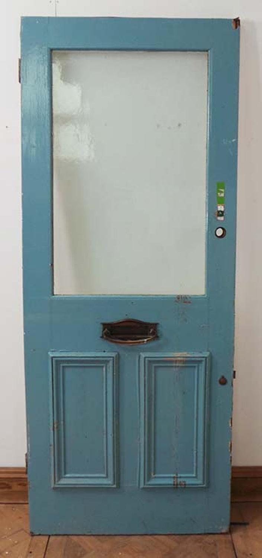 DE0542 LOVELY VICTORIAN PANELLED PINE GLAZED DOOR