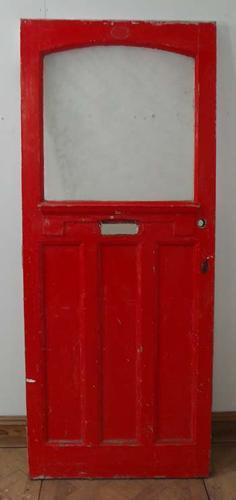 DE0543 AN UNUSUAL EDWARDIAN PANELLED PINE DOOR