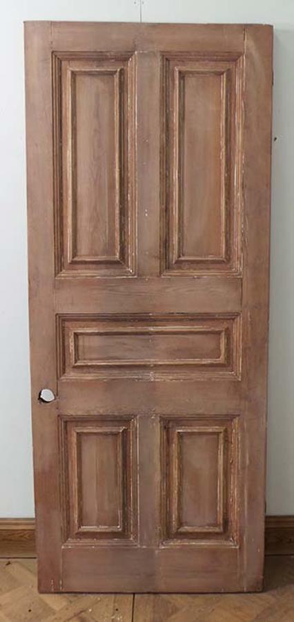 DE0546 LOVELY ORIGINAL VICTORIAN HEAVY PINE PANELLED DOOR