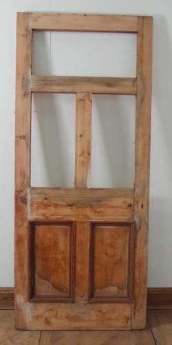 DE0549 LOVELY ORIGINAL VICTORIAN PINE DOOR FOR GLAZING