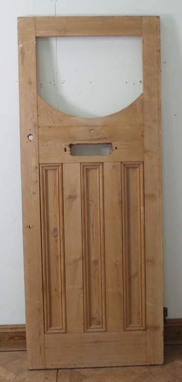 DE0552 UNUSUAL EDWARDIAN GLAZED PANELLED PINE FRONT DOOR