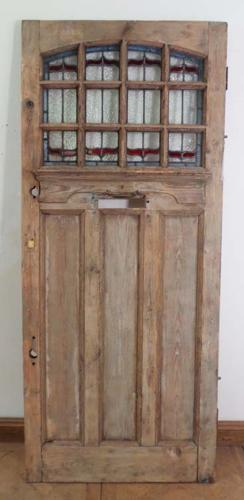 DE0565 STUNNING CLASSIC EDWARDIAN PINE STAINED GLASS DOOR