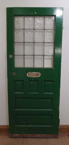 DE0585 A LOVELY VICTORIAN PINE PANELLED AND GLAZED DOOR