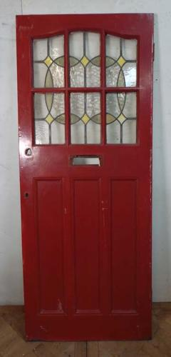 DE0592 LOVELY EDWARDIAN PANELLED PINE STAINED GLASS DOOR