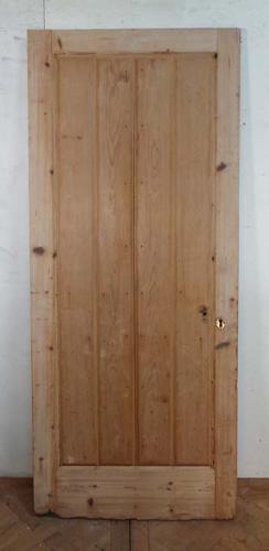 DE0594  UNUSUAL ORIGINAL VICTORIAN HEAVY PINE PANELLED DOOR