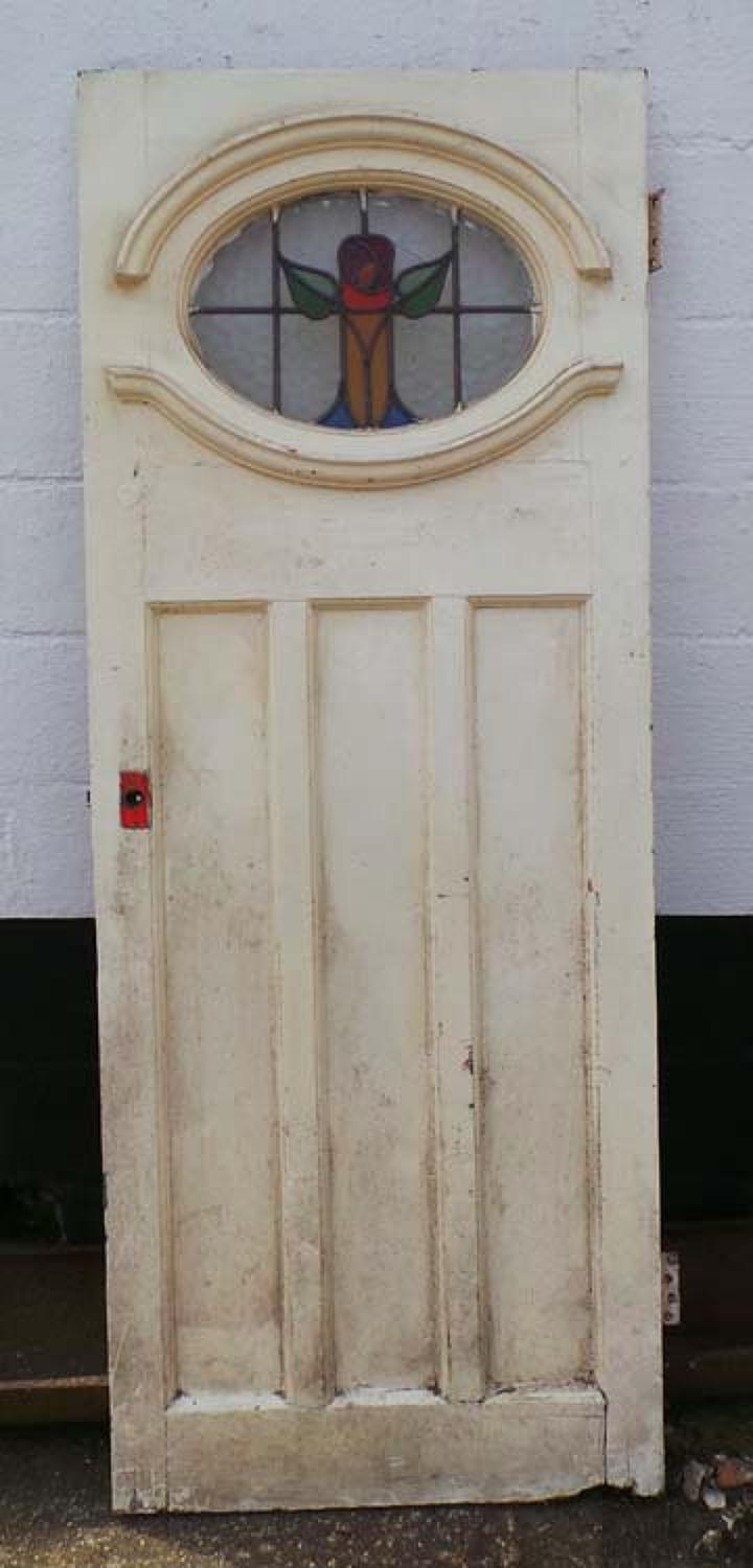 DE0599 STUNNING EDWARDIAN PANELLED PINE STAINED GLASS DOOR