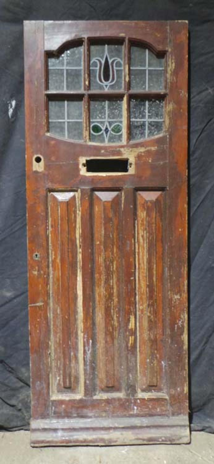DE0602 LOVELY EDWARDIAN PANELLED PINE STAINED GLASS DOOR