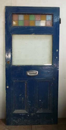 DE0607 LOVELY ORIGINAL VICTORIAN STAINED GLASS PINE DOOR