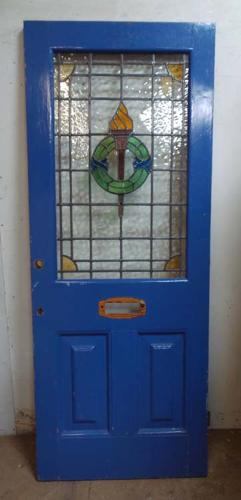 DE0628 LOVELY VICTORIAN PANELLED PINE STAINED GLASS DOOR