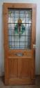 DE0628 LOVELY VICTORIAN PANELLED PINE STAINED GLASS DOOR - picture 2