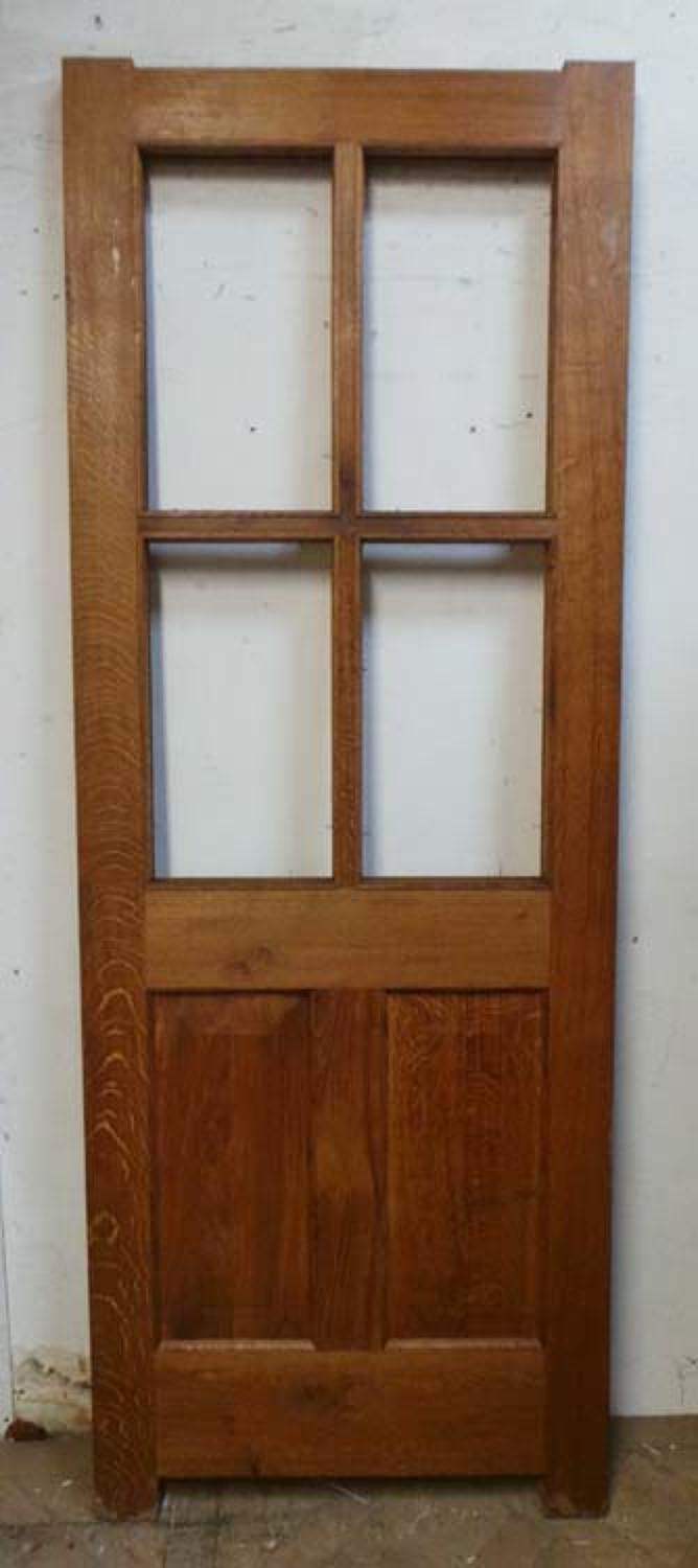 DE0633 A VICTORIAN STYLE ENGLISH OAK DOOR FOR GLAZING