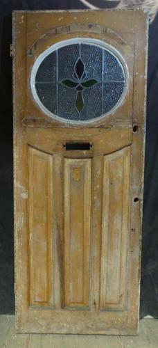 DE0641 STUNNING EDWARDIAN PANELLED PINE STAINED GLASS DOOR
