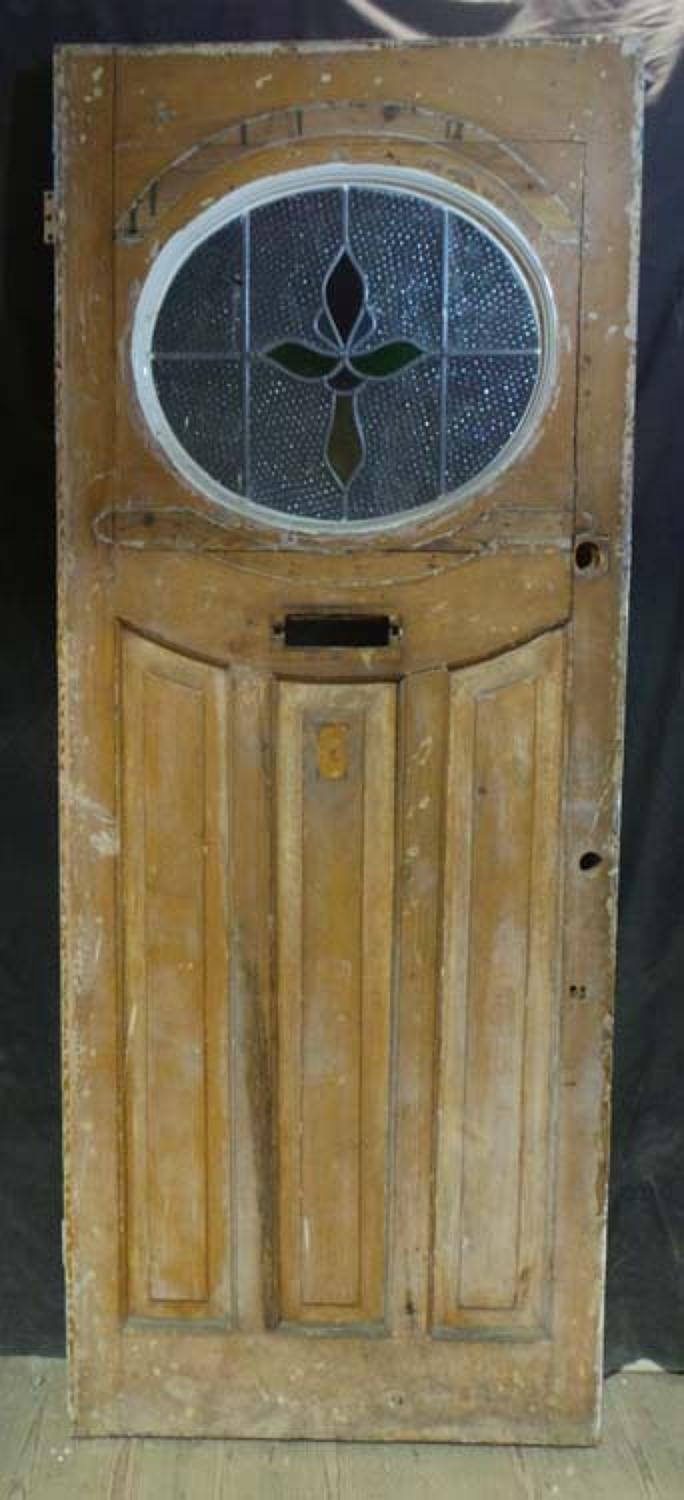 DE0641 STUNNING EDWARDIAN PANELLED PINE STAINED GLASS DOOR