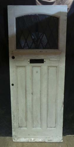 DE0642 LOVELY EDWARDIAN PANELLED PINE 'ART DECO' STAINED GLASS DOOR