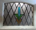 DE0642 LOVELY EDWARDIAN PANELLED PINE 'ART DECO' STAINED GLASS DOOR - picture 3
