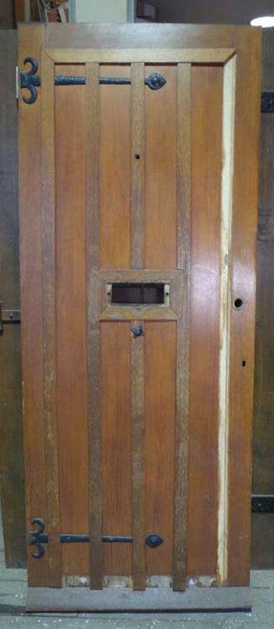 DE0653 STUNNING EDWARDIAN ARTS & CRAFTS OAK FRAMED PLANKED DOOR
